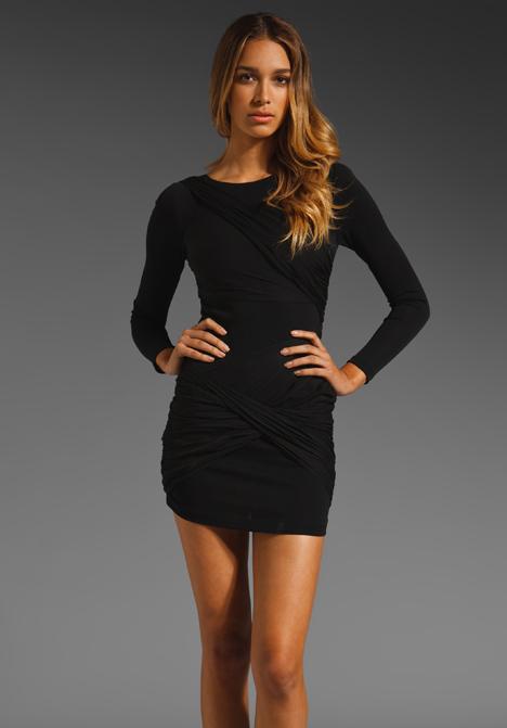 Alice   olivia Long Sleeve Goddess Dress in Black | Lyst