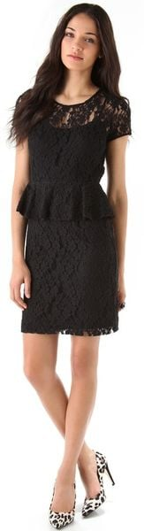 Dkny Lace Peplum Dress in Black - Lyst