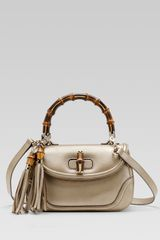 Gucci New Bamboo Leather Top Handle Bag - Lyst