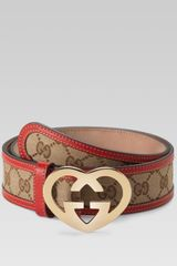 Gucci Belt with Heartshaped Interlocking G Buckle - Lyst