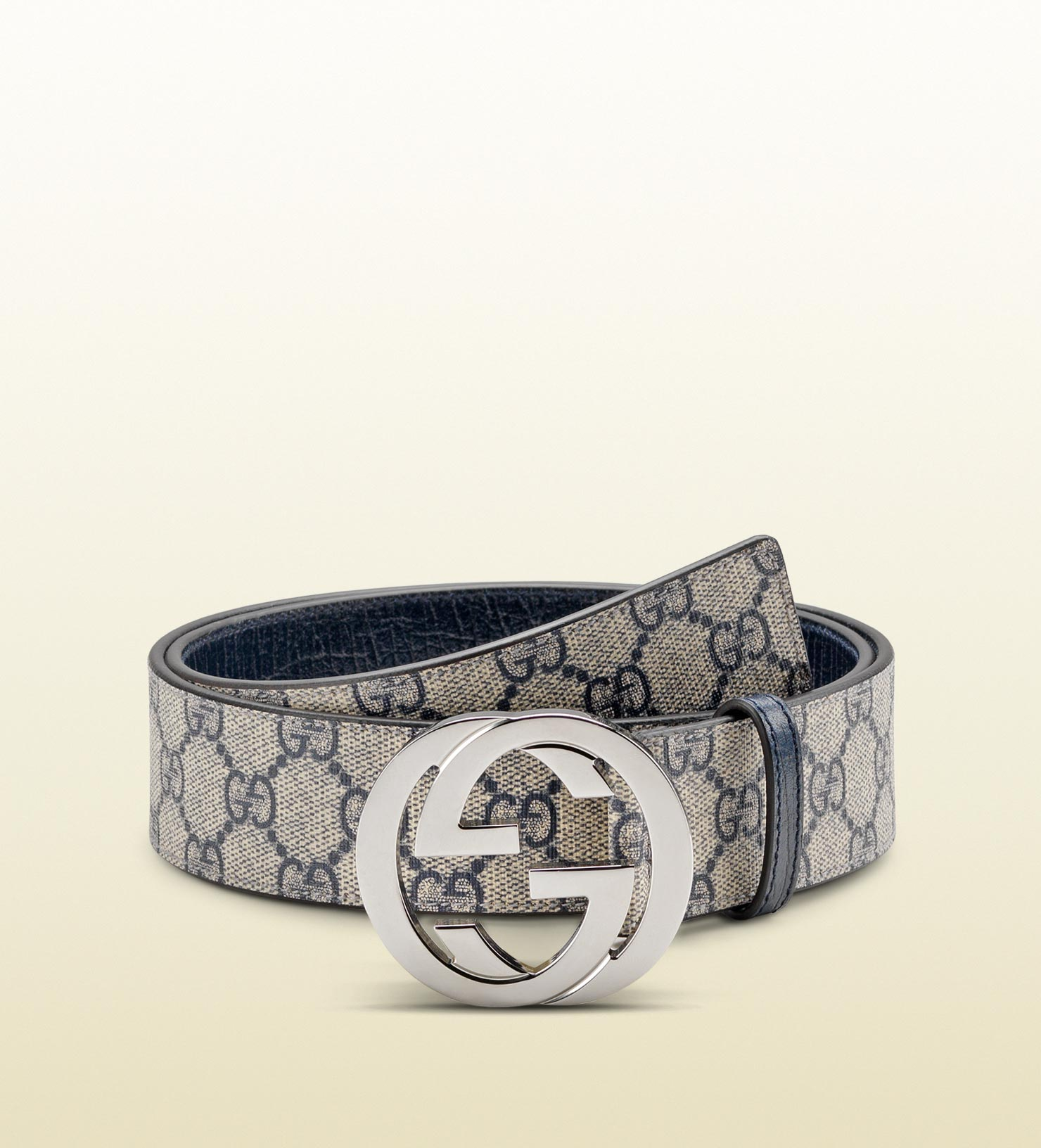 Lyst Gucci Belt With Interlocking G Buckle In Blue For Men