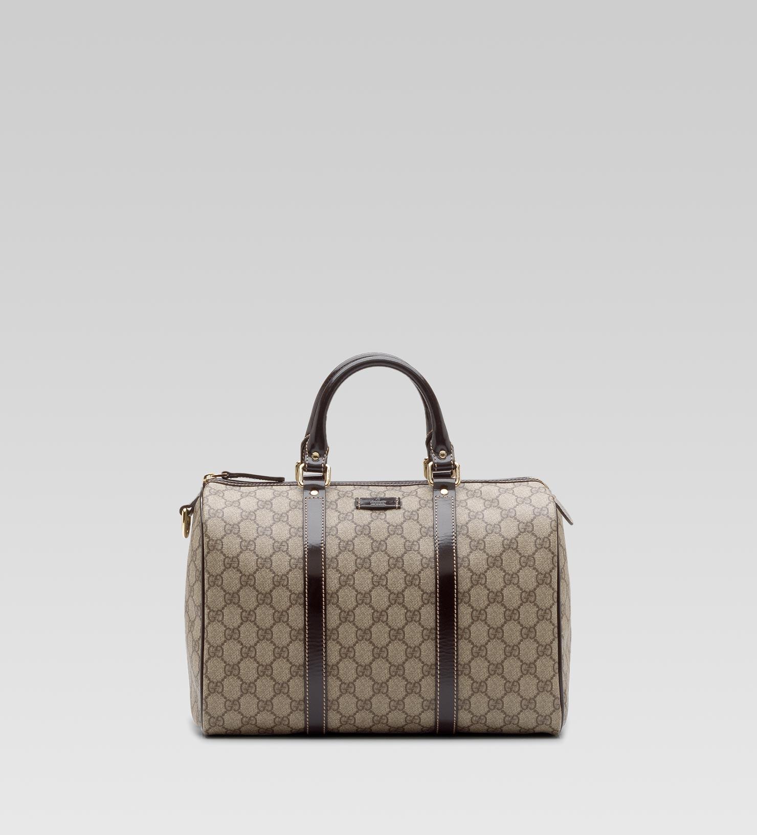 79b1486ac414 Gucci Beige Gg Plus Joy Patent Detail Boston Bag in Natural - Lyst