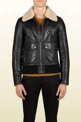 Gucci Bomber Jacket with Detachable Shearling Collar - Lyst