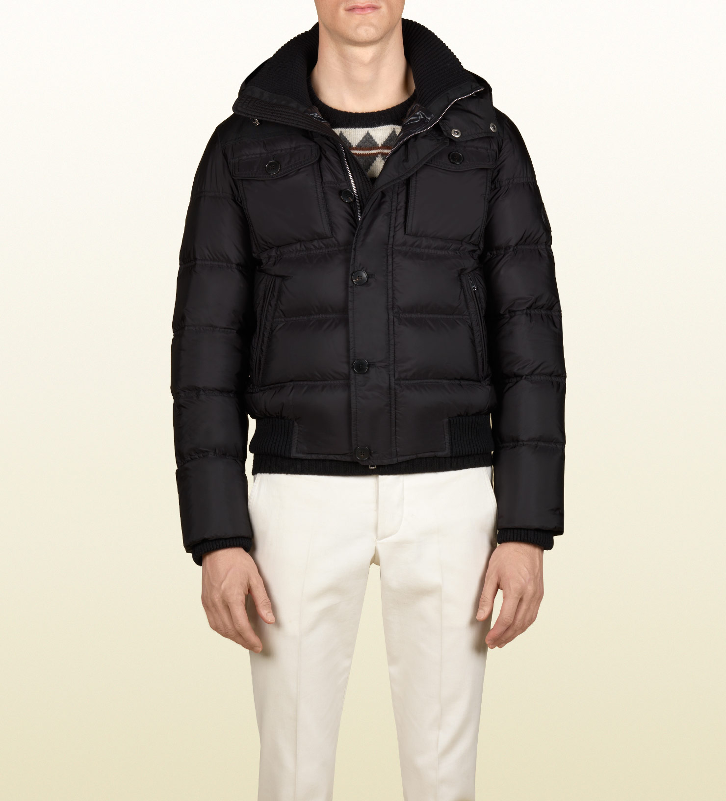 bbb3bbe8d0f4 Lyst - Gucci Crest Patch Quilted Jacket in Black for Men
