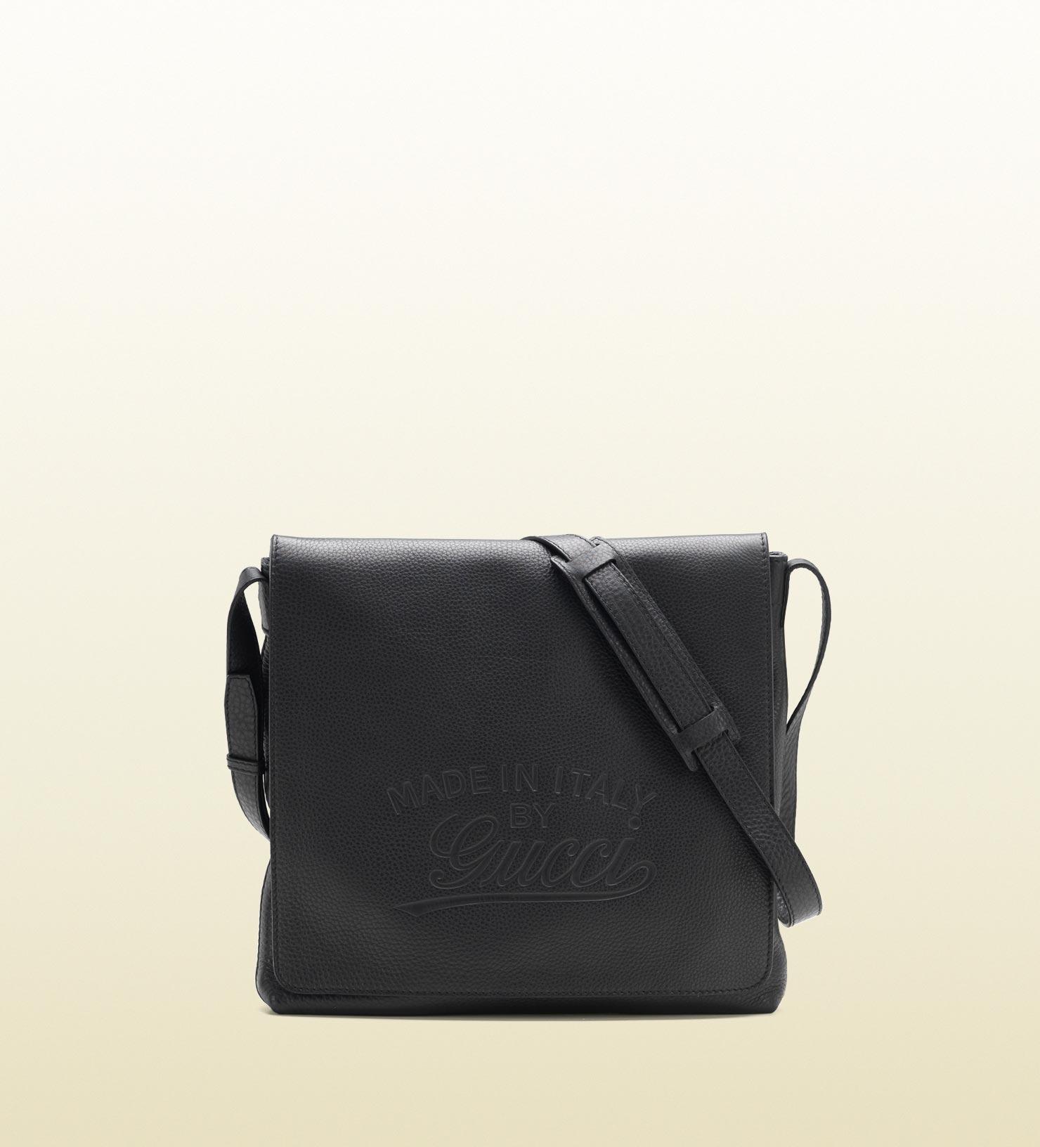 lyst gucci flap messenger bag in black for men. Black Bedroom Furniture Sets. Home Design Ideas