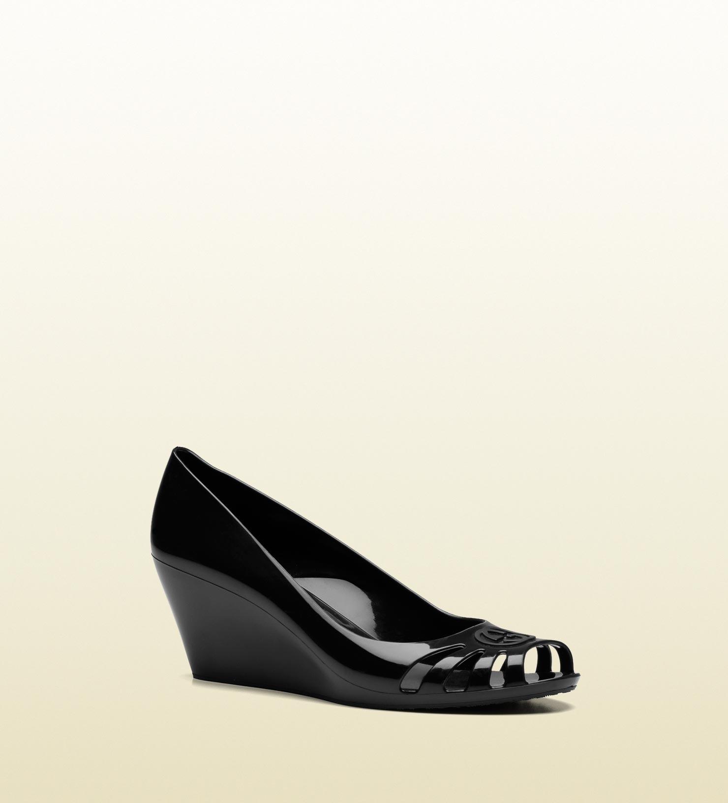 gucci interlocking g mid heel wedge sandal in black lyst