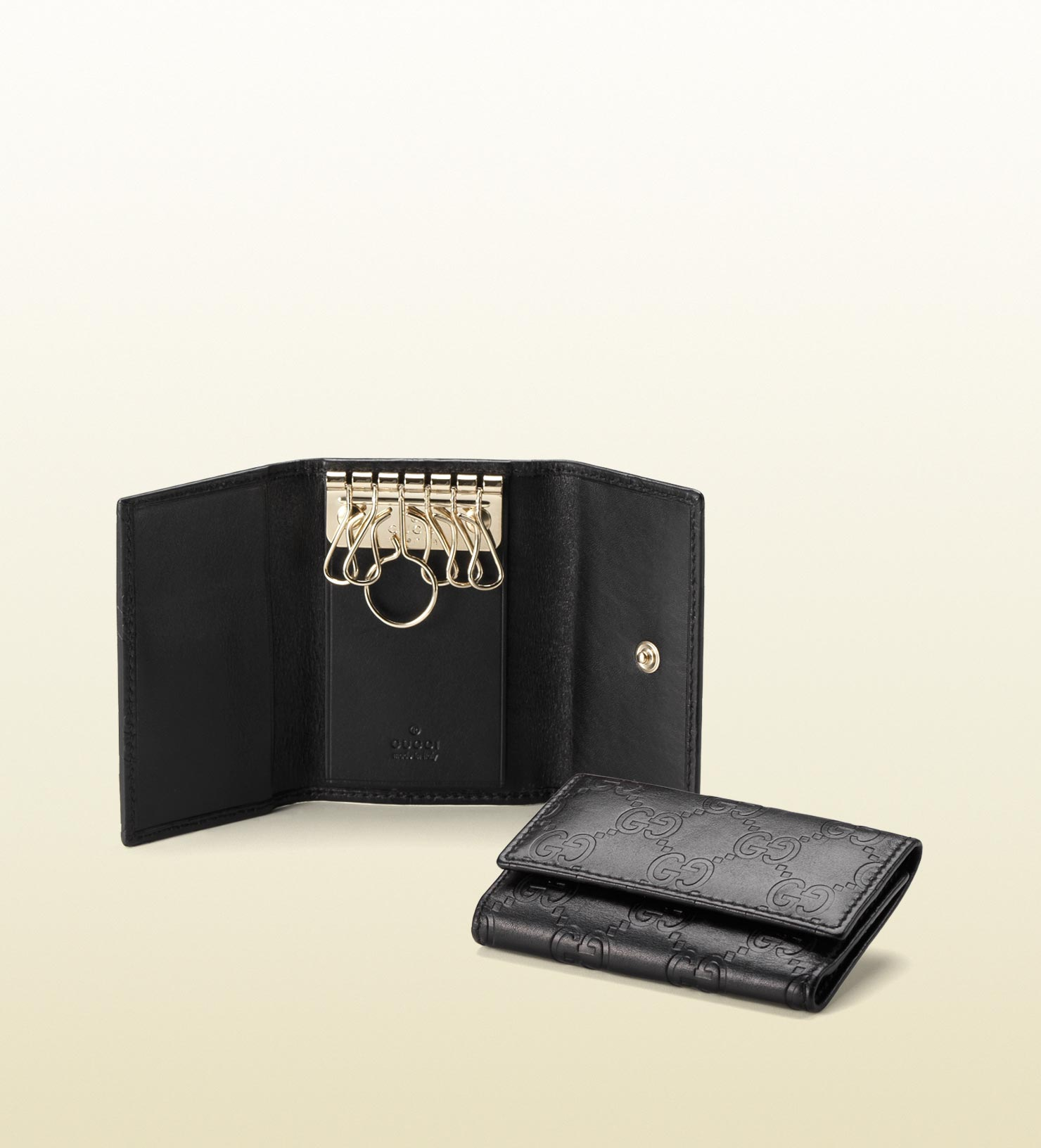 f118aa6a2 Gucci Sima Leather Key Case in Black for Men - Lyst