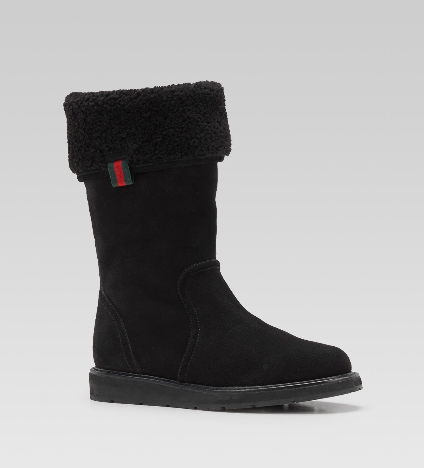Lyst Gucci Luberon Shearling Lined Flat Boot In Black