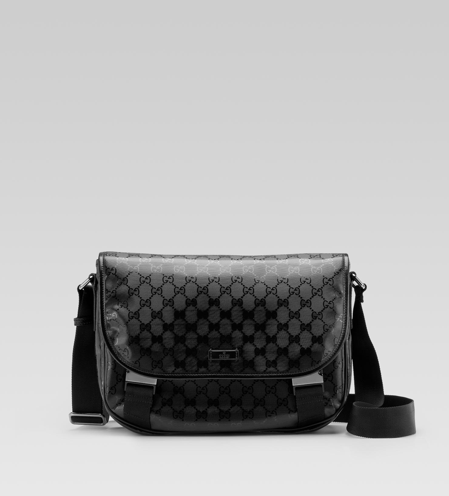 gucci gg imprime medium messenger bag in black for men lyst. Black Bedroom Furniture Sets. Home Design Ideas