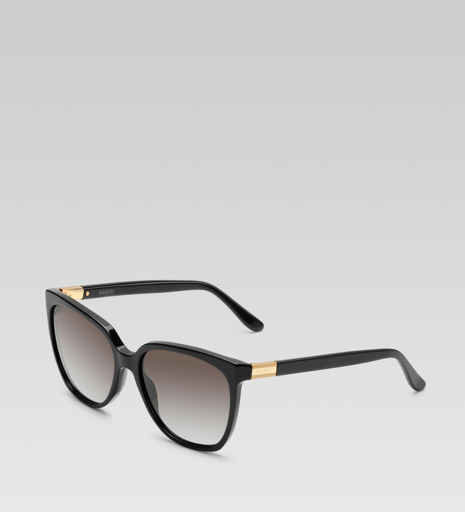e15661db6e8 Lyst - Gucci Medium Square Frame Sunglasses with Gucci Web Plaque ...