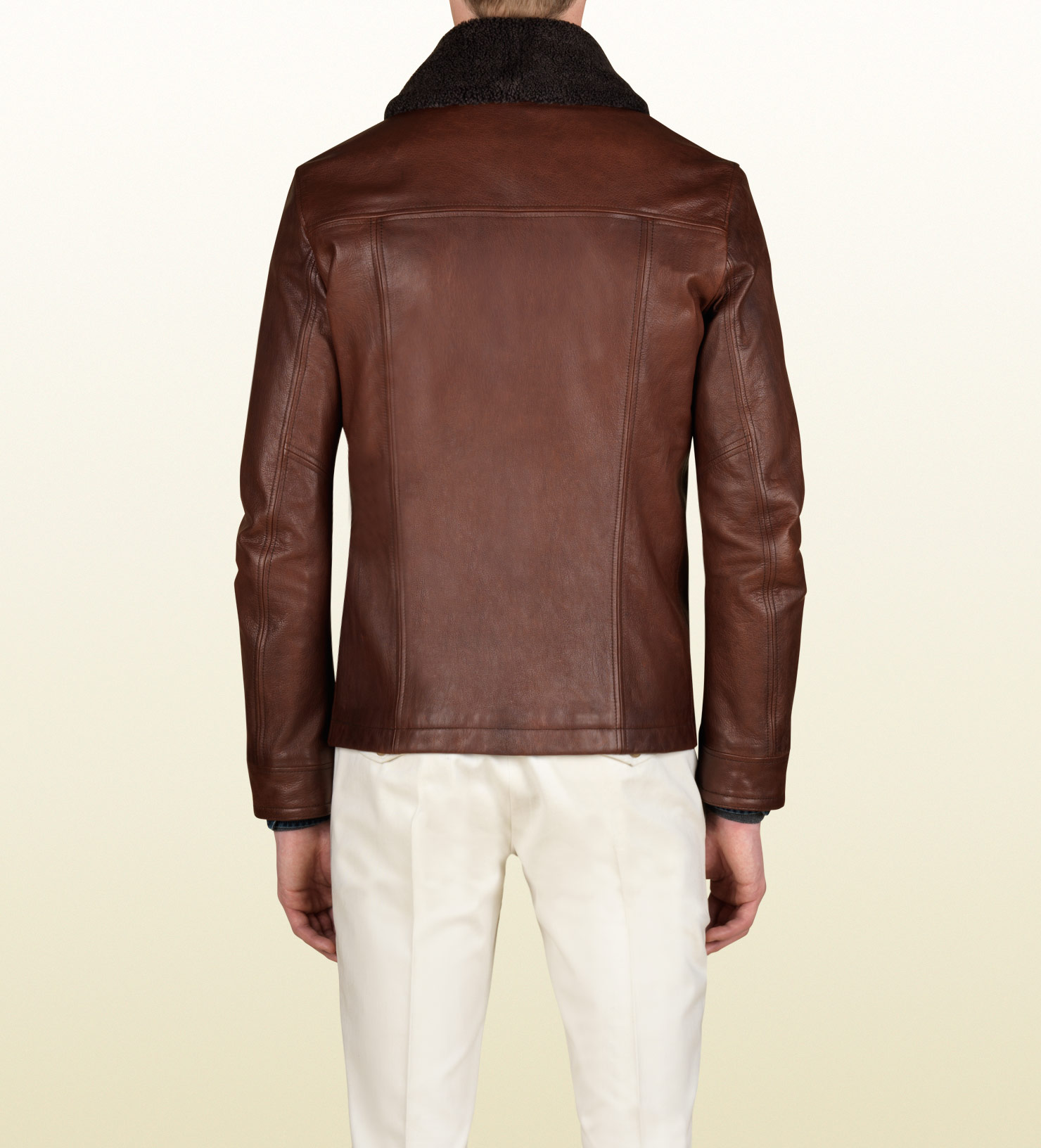 Lyst Gucci Shearling Collar Jacket In Brown For Men