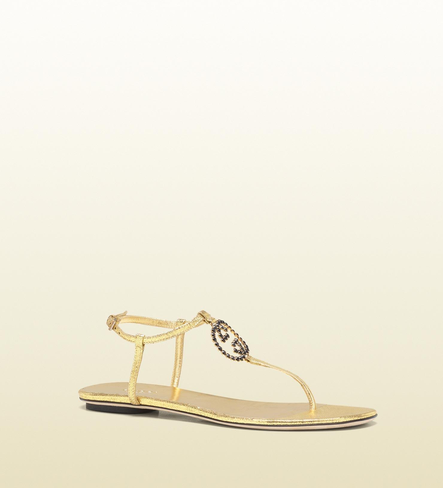 289c3a822 Gucci Katlin Jeweled Interlocking G Flat Thong Sandal in Metallic - Lyst