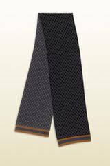 Gucci Diamante Pattern Knit Scarf with Web Detail - Lyst