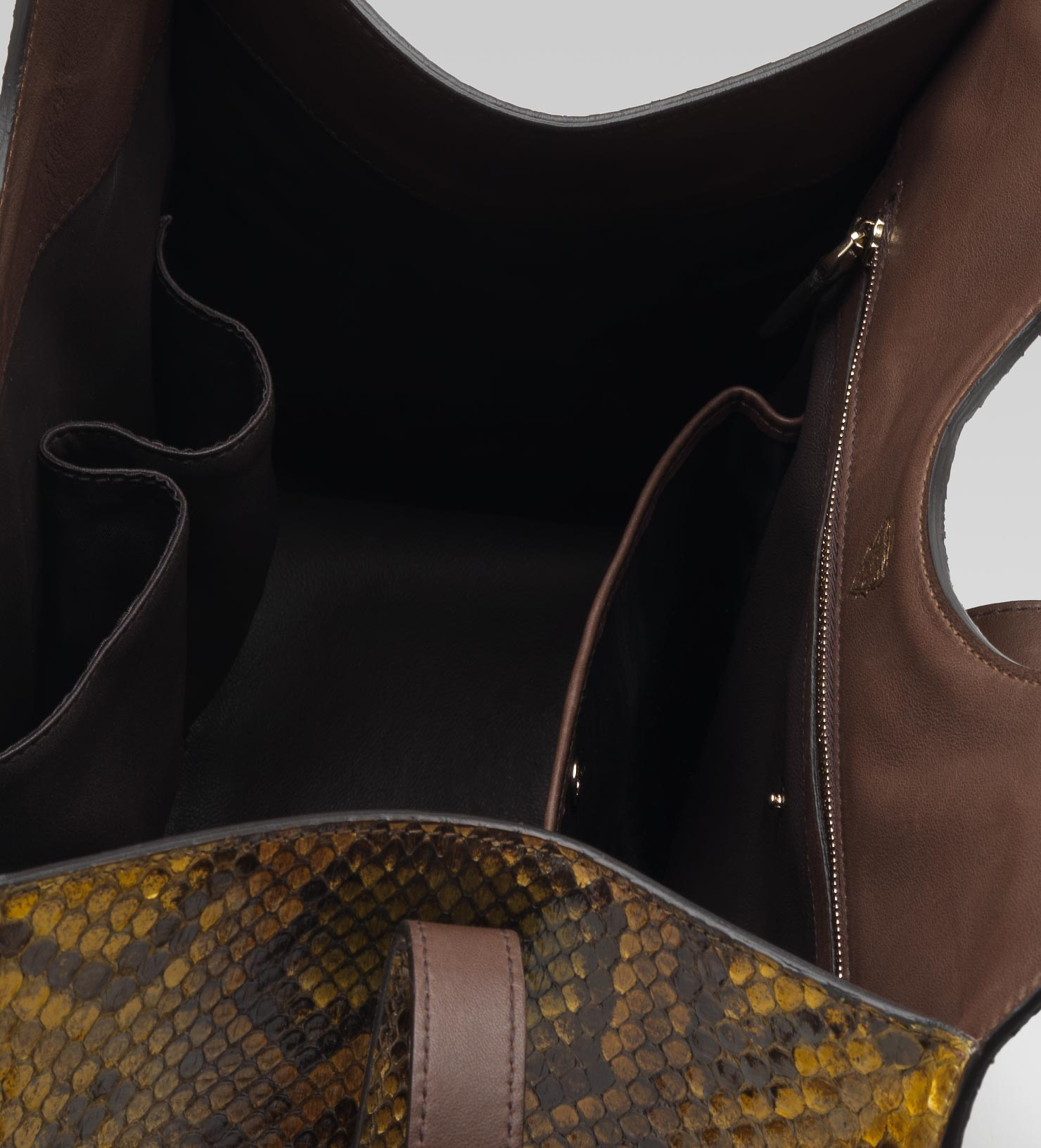 14eae6ba8fd Lyst - Gucci Stirrup Mustard Color Python Top Handle Bag in Yellow