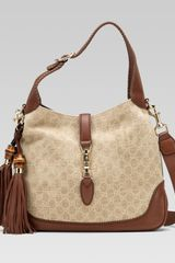 Gucci New Jackie Sand Color Fabric Shoulder Bag - Lyst