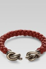 Gucci Woven Leather Bracelet with Knot Details - Lyst
