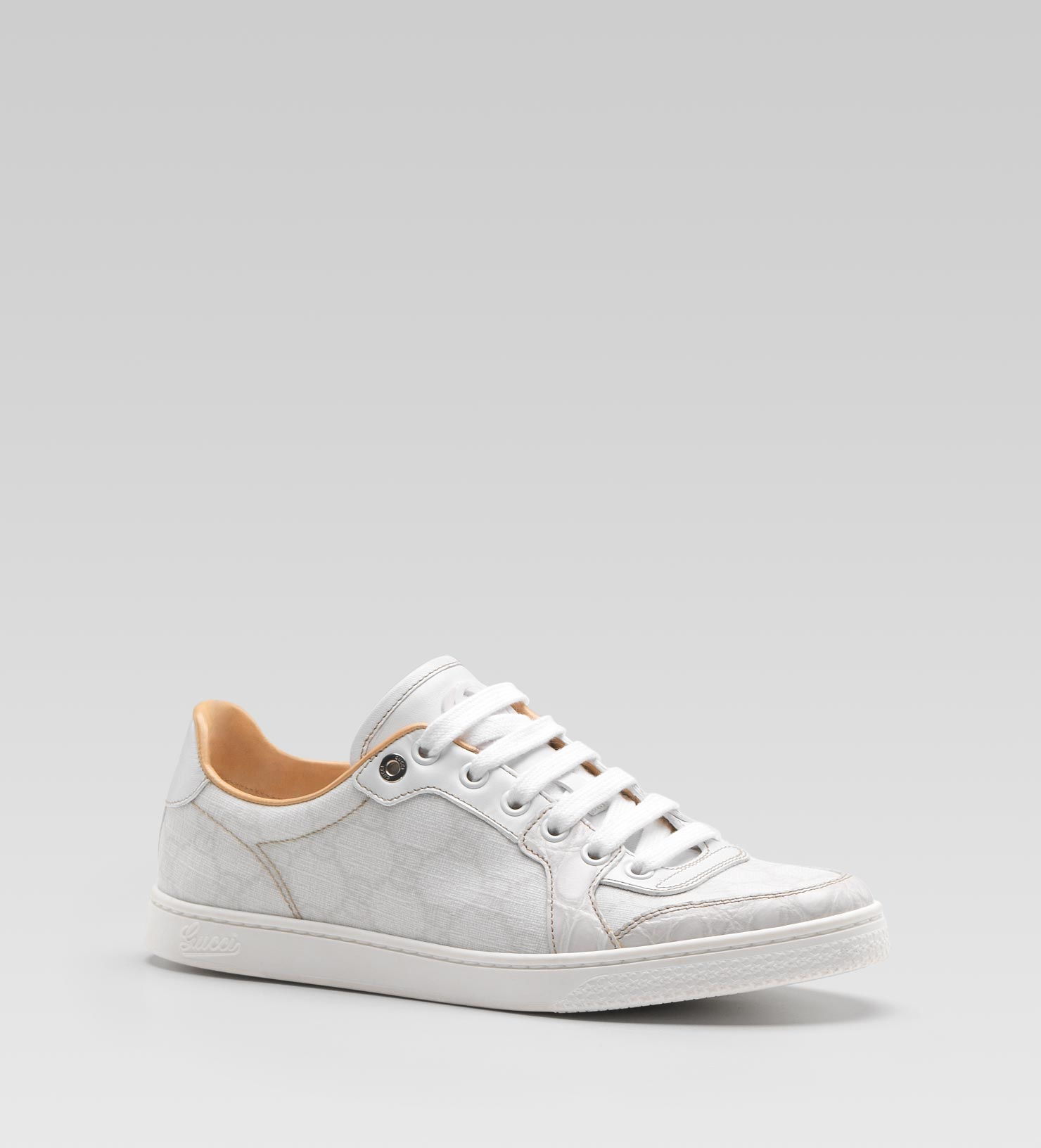 8fb0ea948 Gucci Coda Low Laceup Sneaker with Interlocking G Detail in White - Lyst