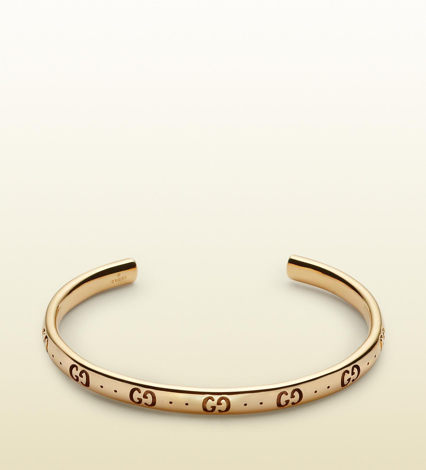 Gucci Large Icon bracelet in yellow gold - Metallic VqBARo