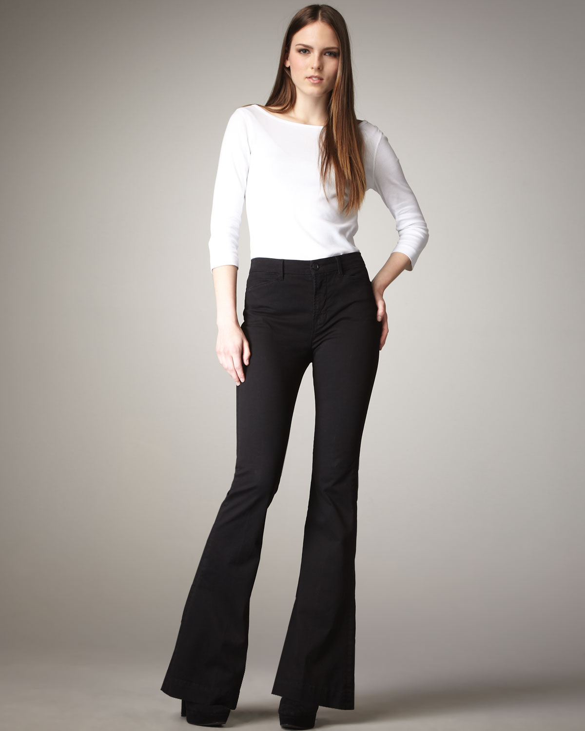 92d63b7579ce2 Lyst - J Brand Isabella High-rise Flared Trousers in Black