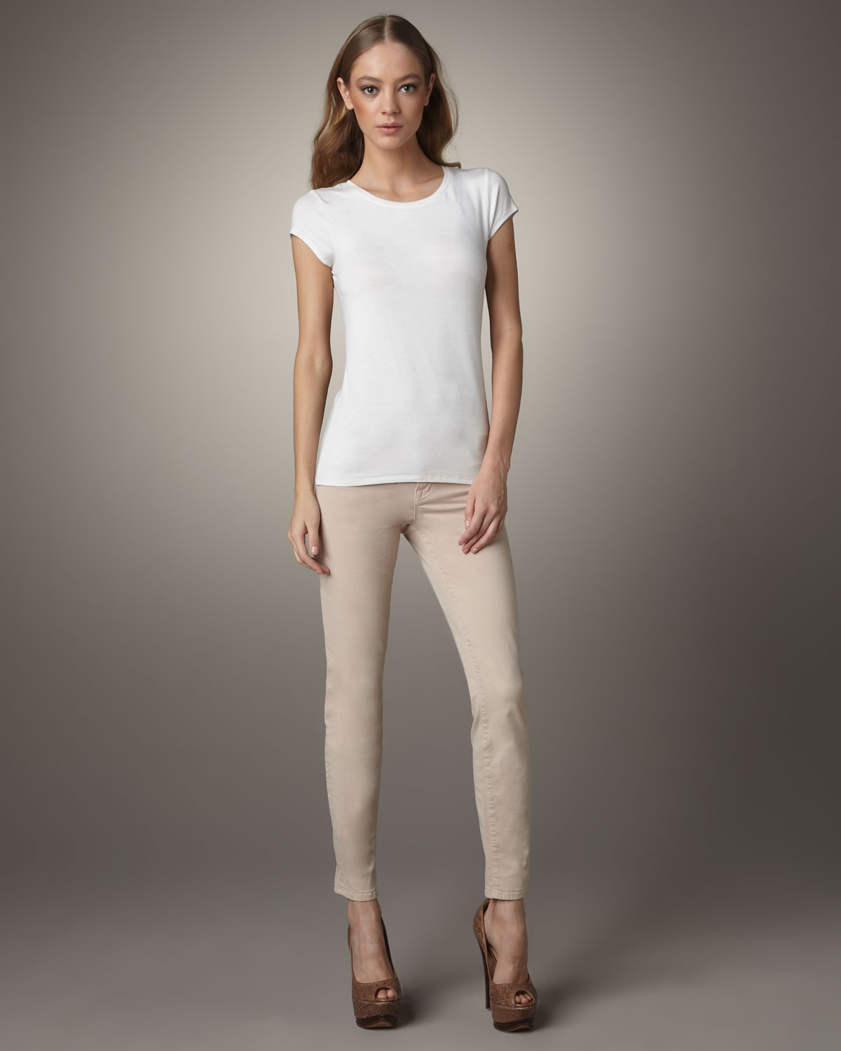 Lyst - J Brand 811 Mid-Rise Skinny Twill Jeans, Nude In -5073