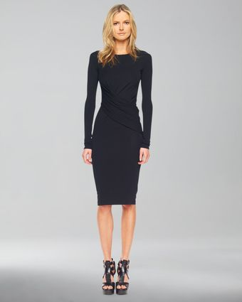 Michael Kors Longsleeve Fauxwrap Dress - Lyst