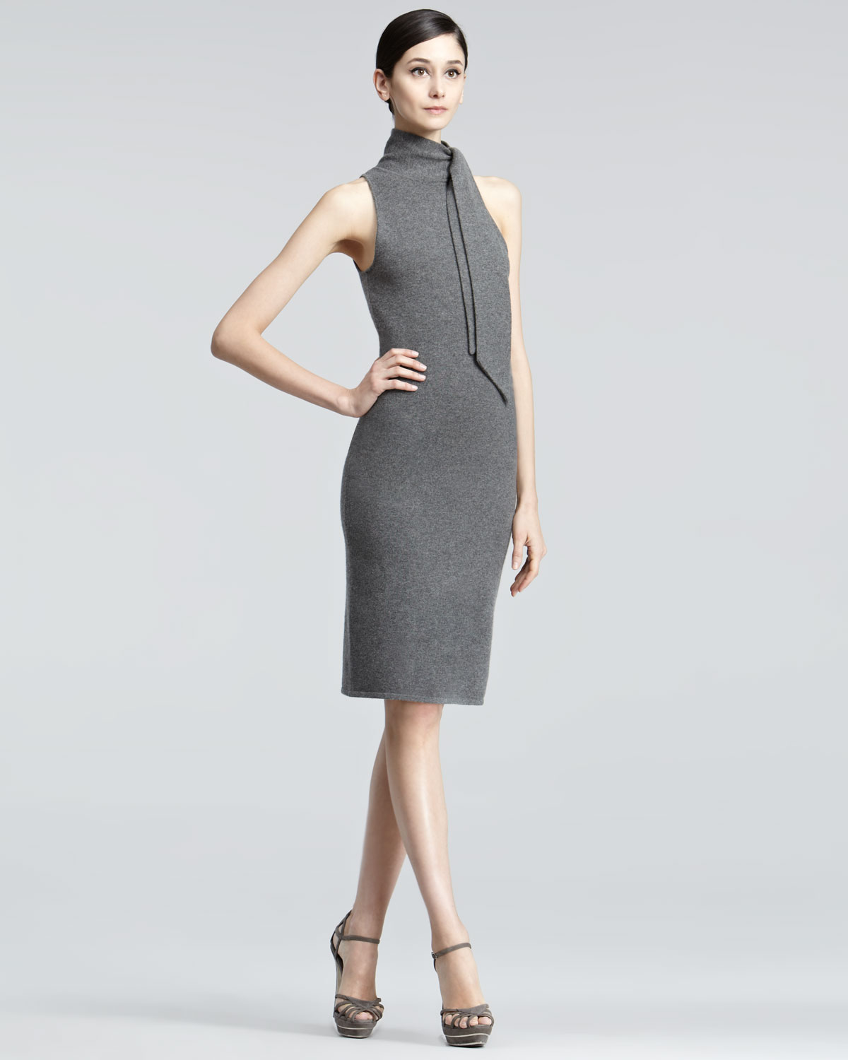 Ginia Cashmere Gowns Wrap Gown: Ralph Lauren Black Label Sleeveless Cashmere Dress In Gray