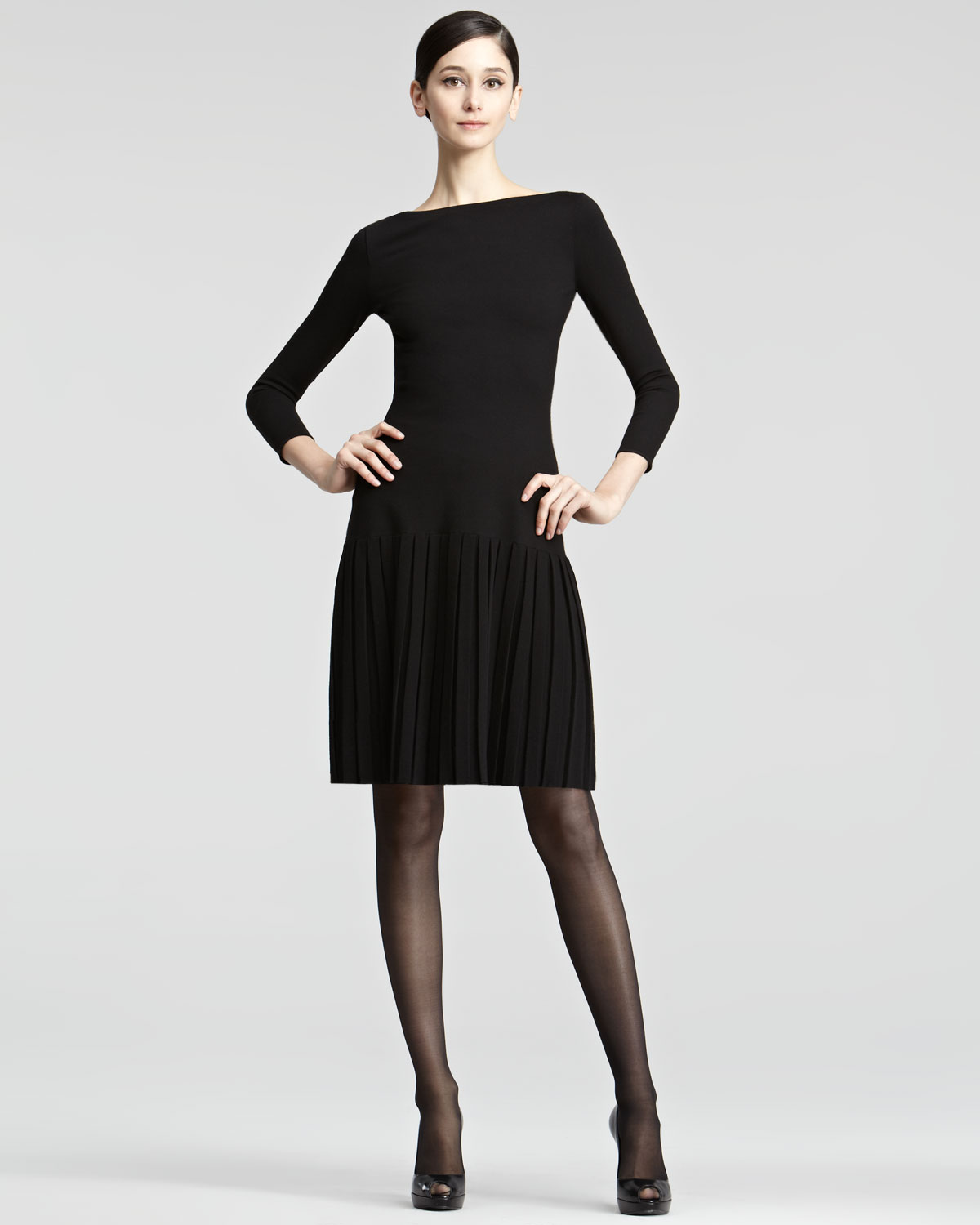 ralph lauren collection pleated skirt knit dress in black lyst. Black Bedroom Furniture Sets. Home Design Ideas