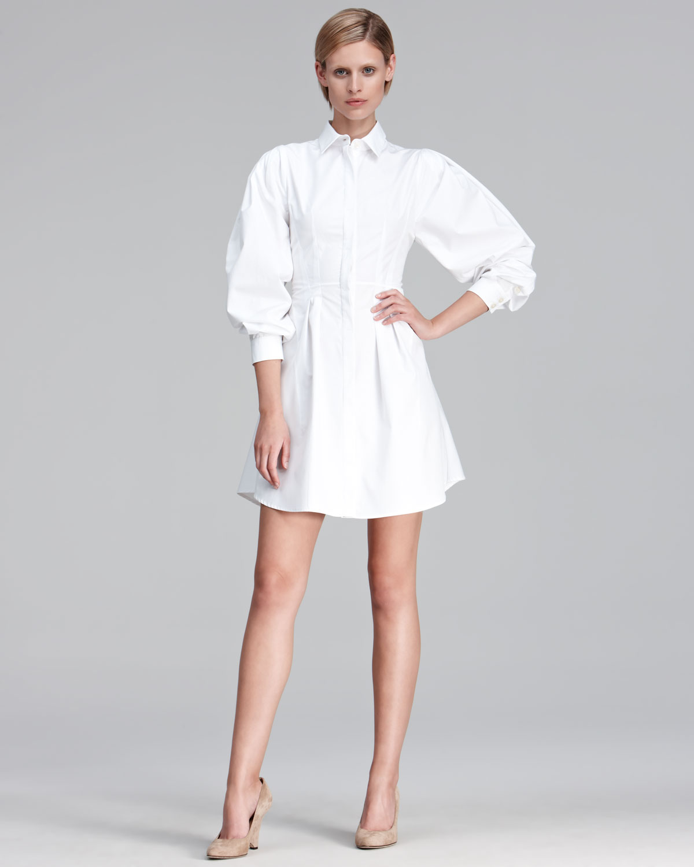 Thakoon Puff Sleeve Poplin Shirt Dress in White | Lyst