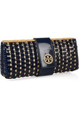 Tory Burch Rattan and Faux Patentleather Clutch in Brown (tan) - Lyst