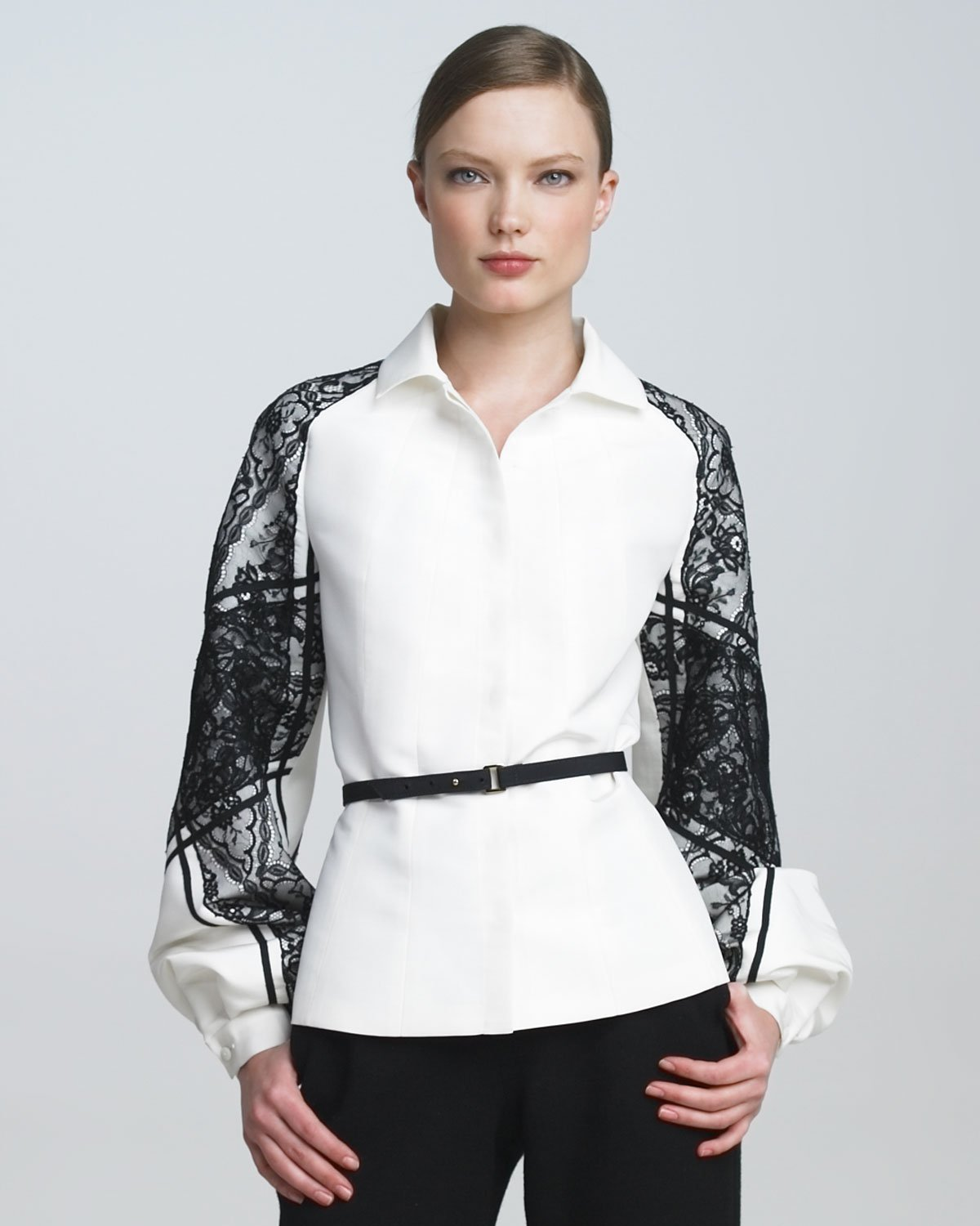 Lyst Carolina Herrera Belted Lacesleeve Blouse In White