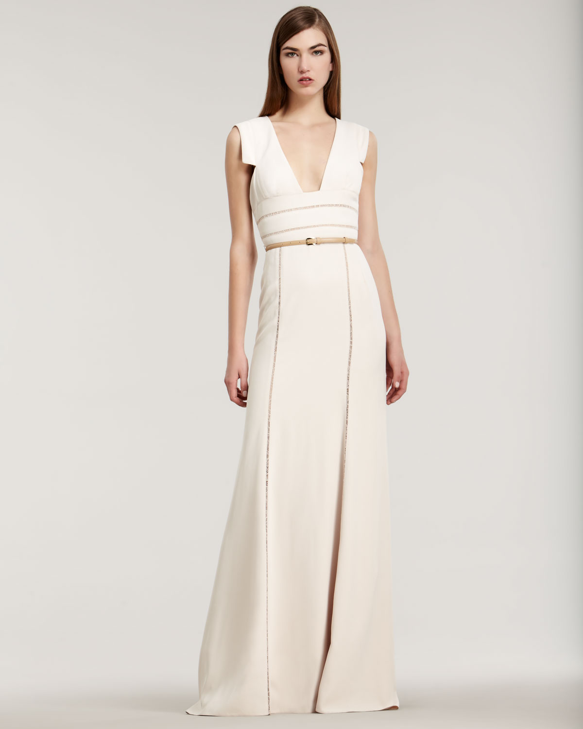 ab9aabc7608 Elie Saab Stretch Crepe Capsleeve Gown in White - Lyst