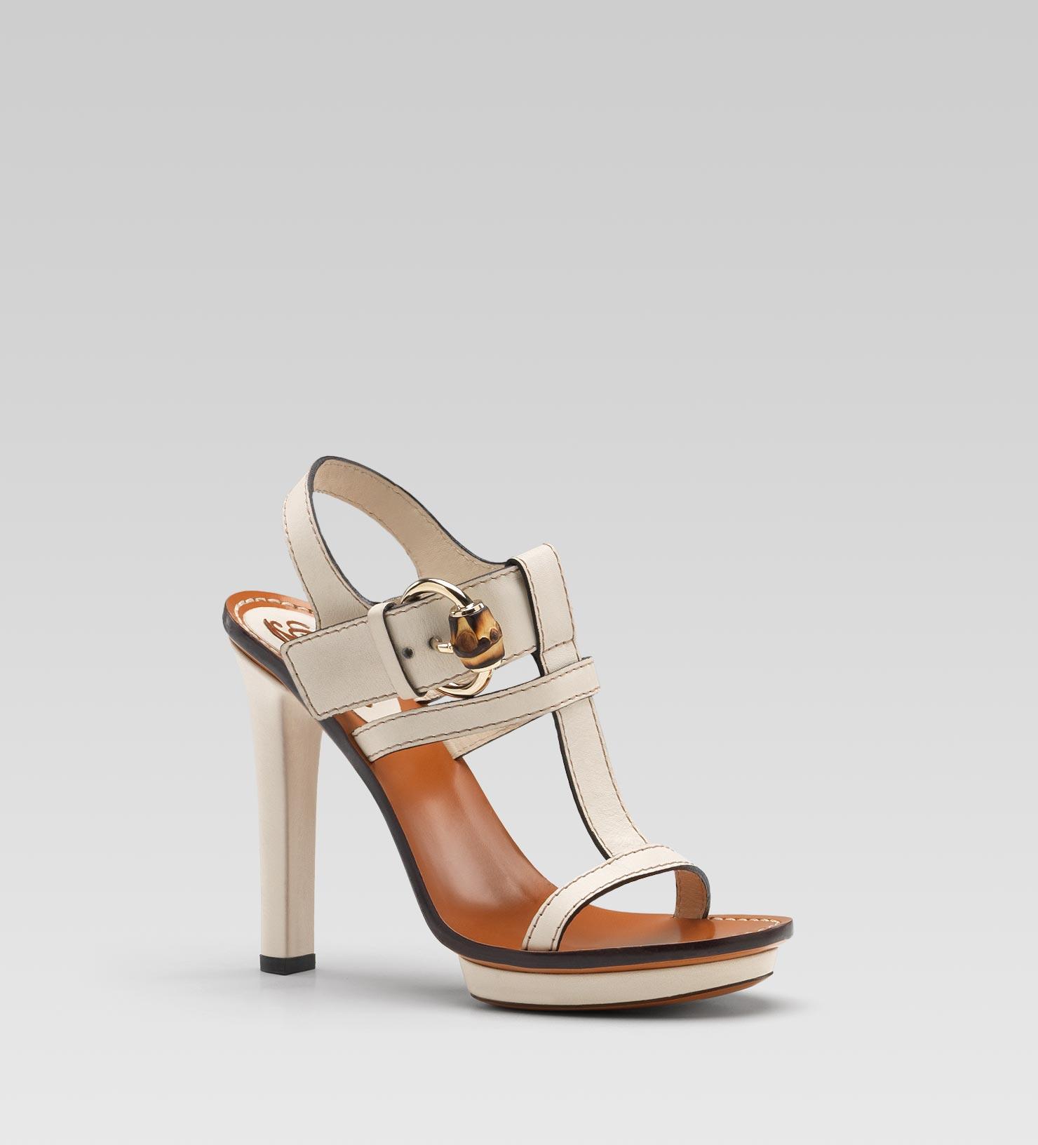 c9f0f3ef8 Gucci Gwen High Heel Platform Sandal in Natural - Lyst