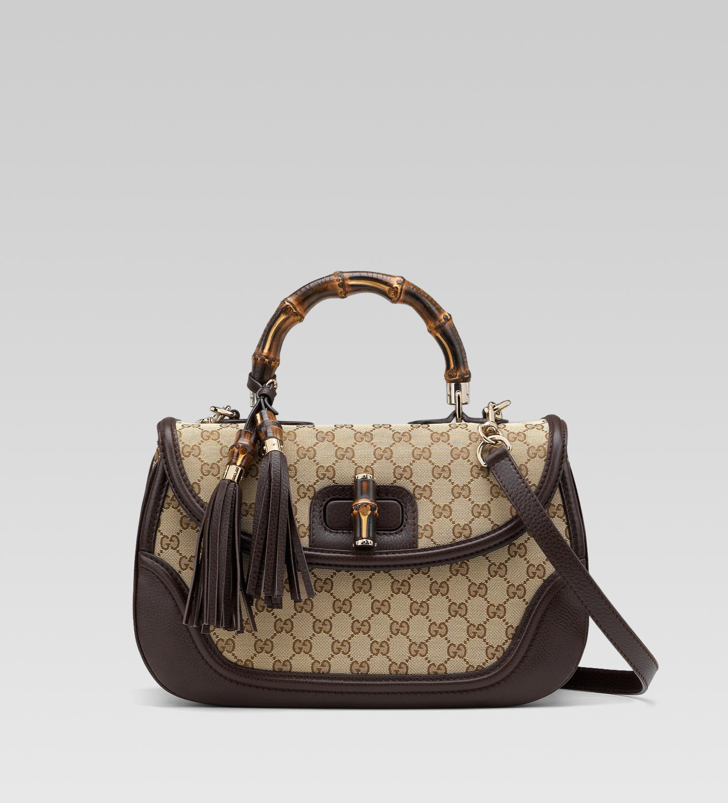 ed0c75318f3b Lyst - Gucci New Bamboo Original Gg Canvas Top Handle Bag in Natural