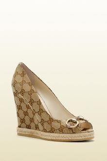 Gucci Charlotte High Heel Opentoe Espadrille Wedge with Horsebit Detail - Lyst