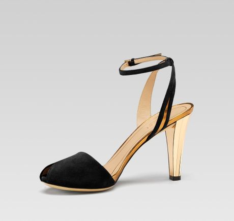 27a37730c70 Gucci Delphine Mid Heel Opentoe Sandal in Black
