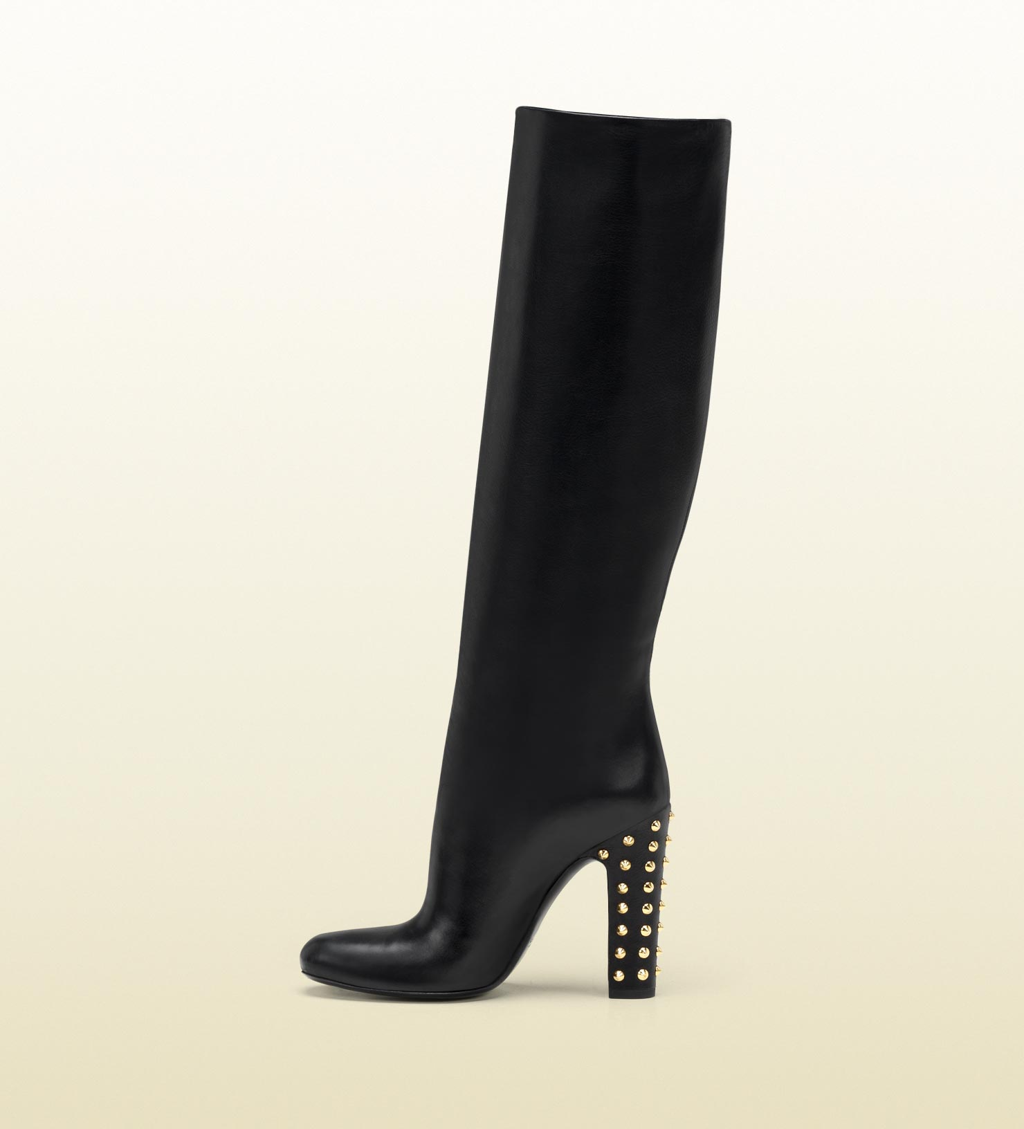611ad1dd7 Gucci Jacquelyne Studded Mid Heel Tall Boot in Black - Lyst