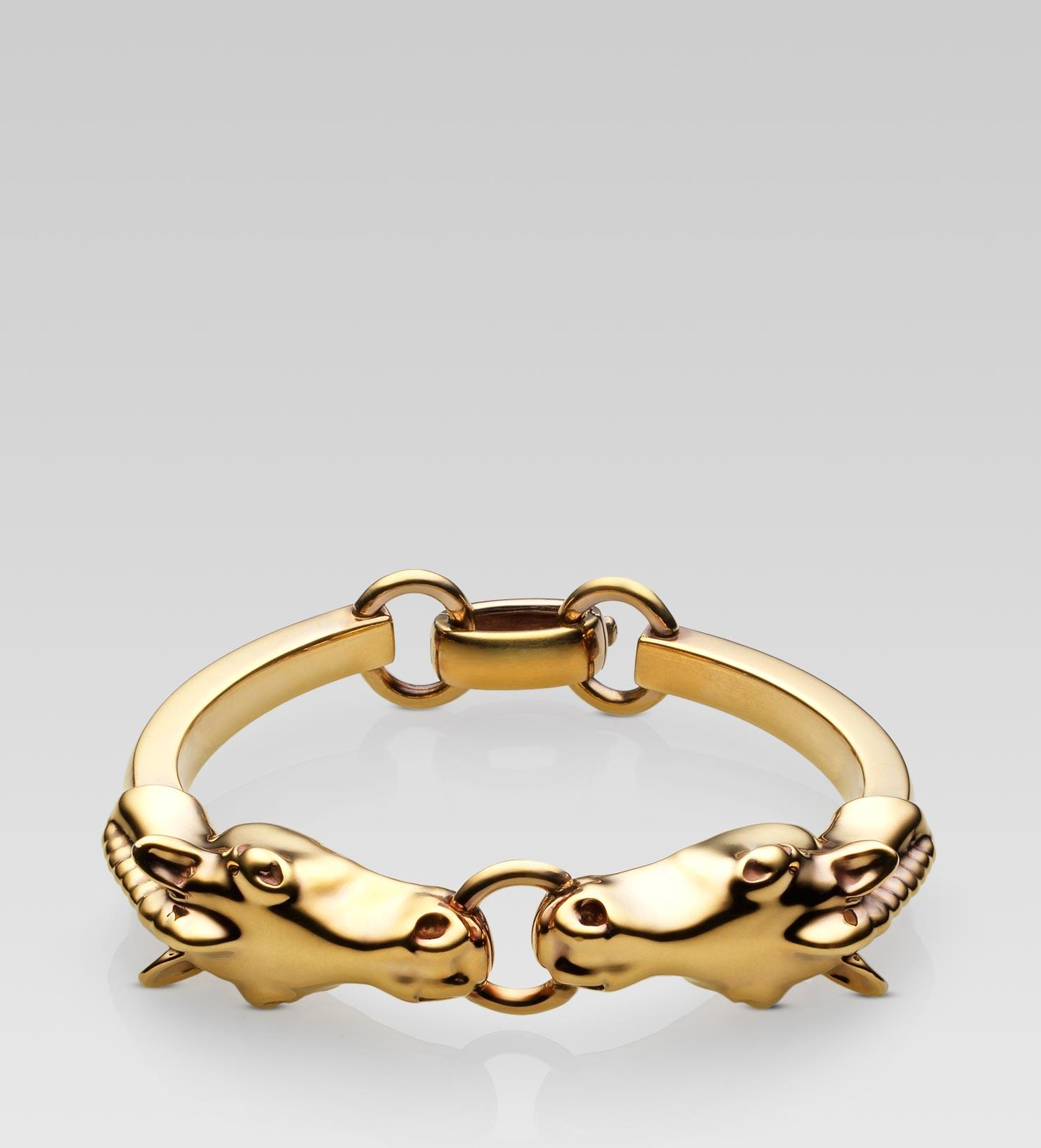 gucci heads bracelet in gold lyst