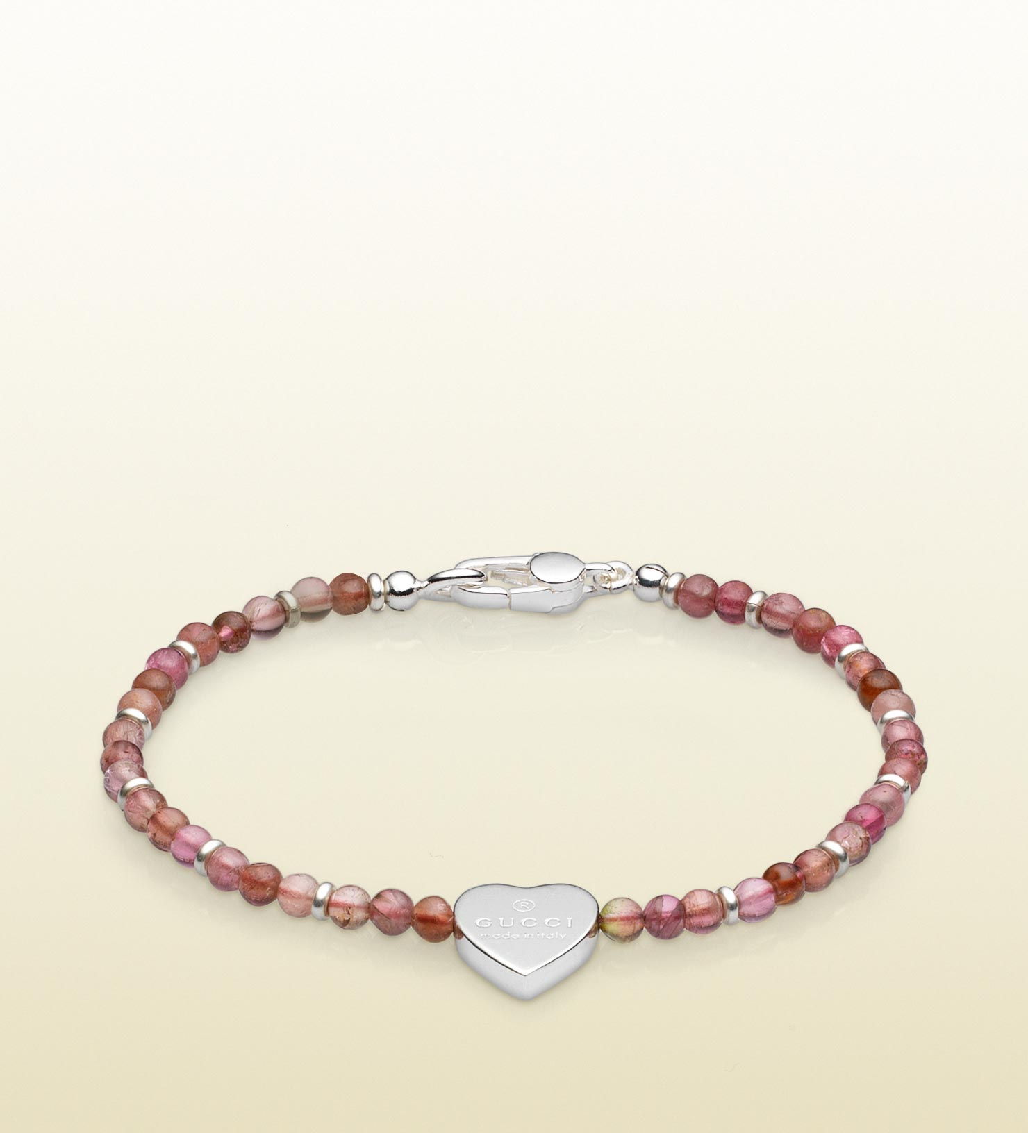 6d4f5d703 Gucci Heart Charm Beads Bracelet in Metallic - Lyst