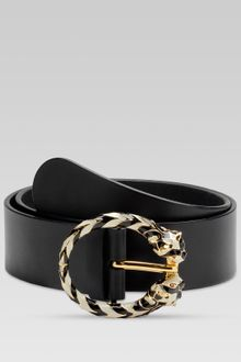 Gucci Belt with Two Enameled Tiger Heads Buckle with Swarovski Details - Lyst