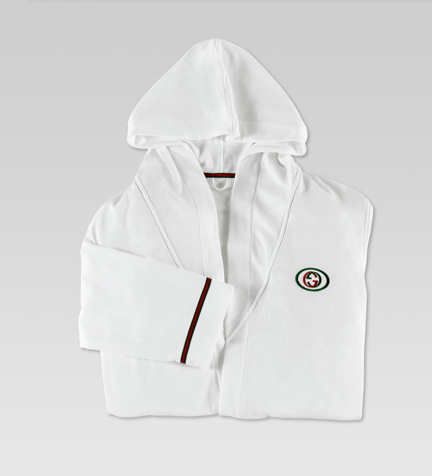2e926fc26d Gucci Bathrobe with Interlocking G and Signature Web Detail in White ...
