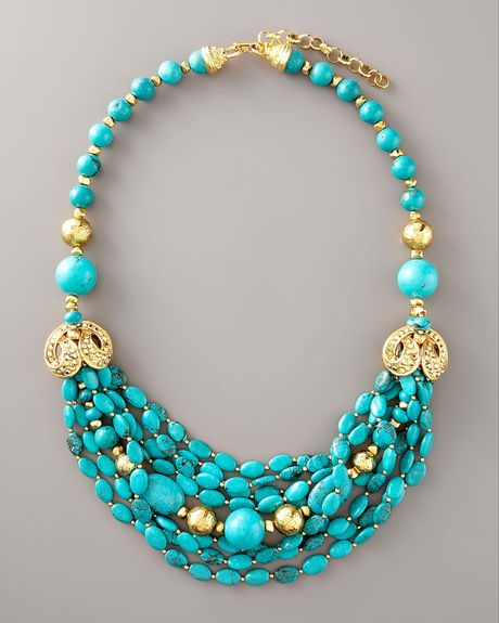 jose barrera turquoise gold necklace in blue