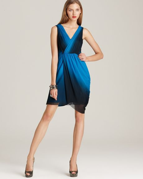 Cleo S Clothing: Max & Cleo Ombre Dress Pleated In Blue