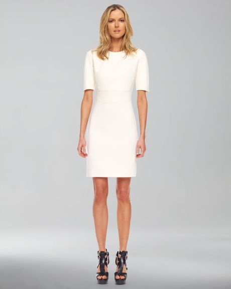 Michael Kors Stretch Boucle Shift Dress in White (ivory) - Lyst
