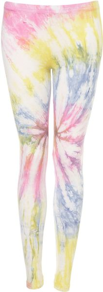 Topshop Multi Coloured Tie Dye Leggings - Lyst