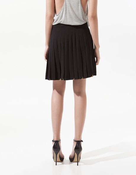 zara box pleat skirt with metallic detailing in black lyst
