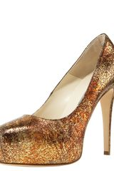 Brian Atwood Maniac Crackled Metallic Platform Pump - Lyst