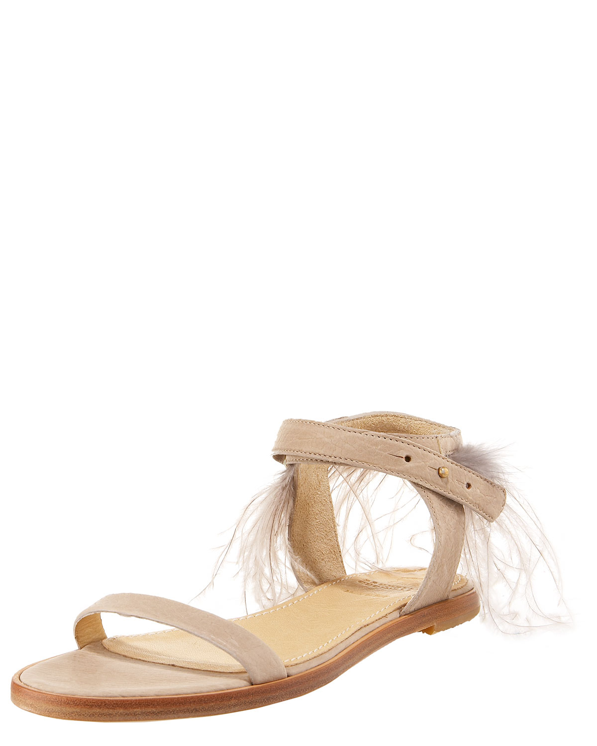 Brunello Cucinelli Ostrich Feather-Trimmed Leather Sandals free shipping the cheapest cheap online store low shipping for sale order sale online factory outlet for sale XVTtV