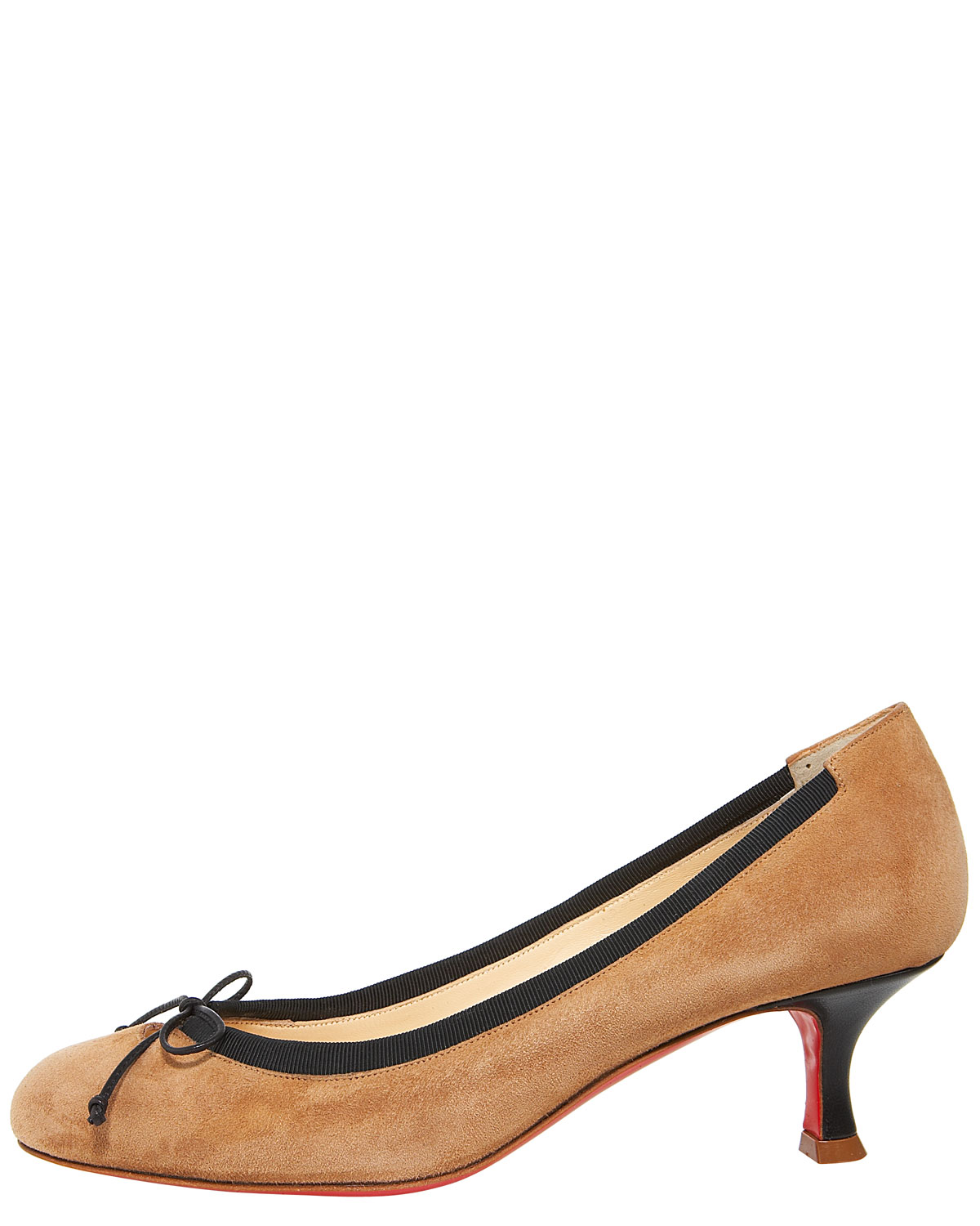 louboutin shoes - christian louboutin round-toe suede pumps, red and gold spiked ...