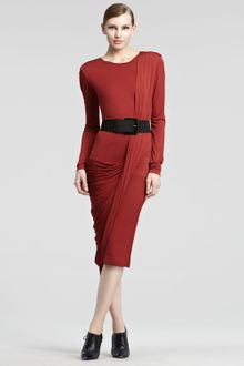 Donna Karan New York Luster Jersey Longsleeve Dress - Lyst