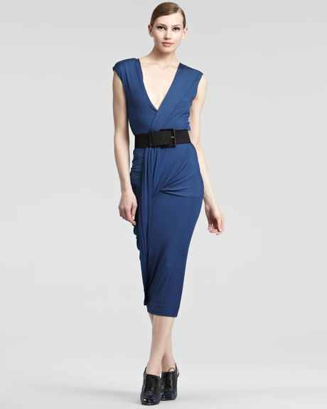 Donna Karan New York Luster Jersey Wrap Dress in Blue (sapphire) - Lyst
